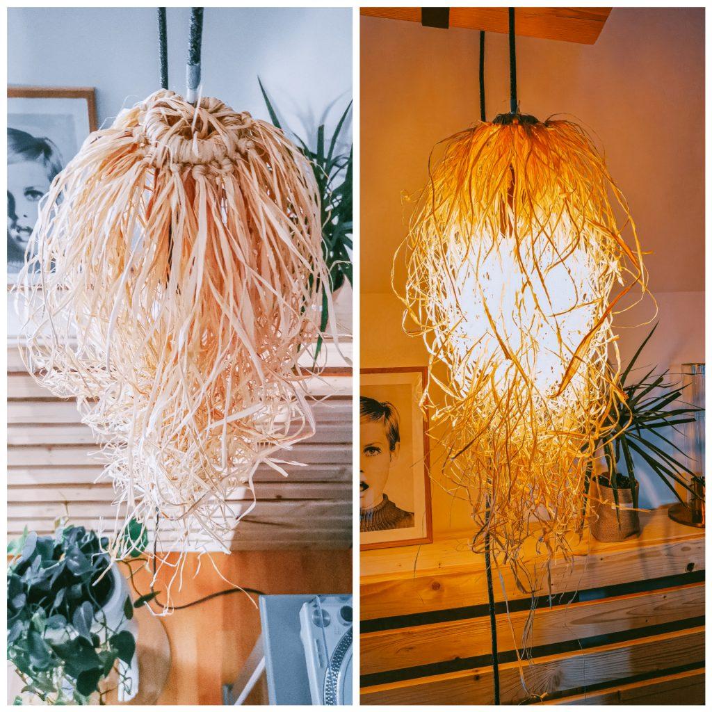inCollage 20210628 151907760 1024x1024 - Selbstgemachte BOHO-Lampe aus Raffia